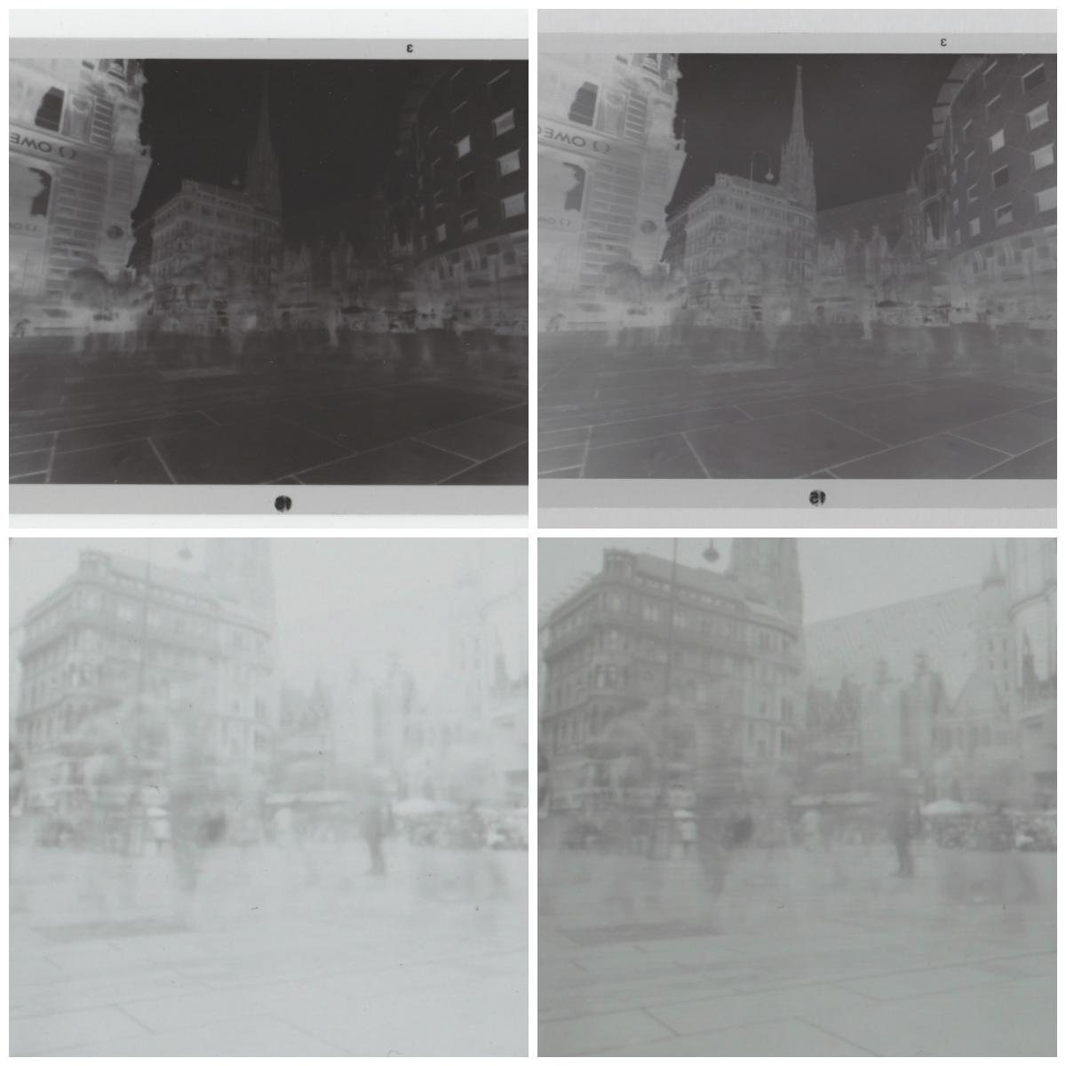 stanga scan normal - dreapta scan cu sticla mata